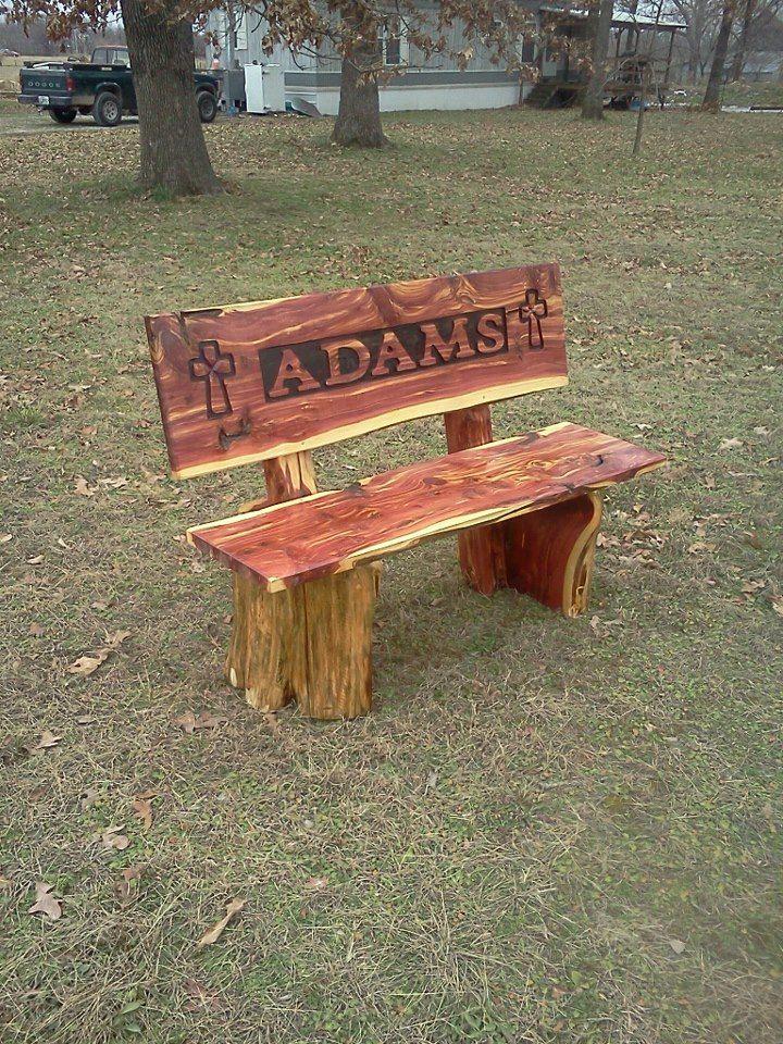 Cedar name bench