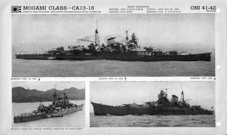 Office of Naval Intelligence photographs of the Mogami-class heavy cruisers.