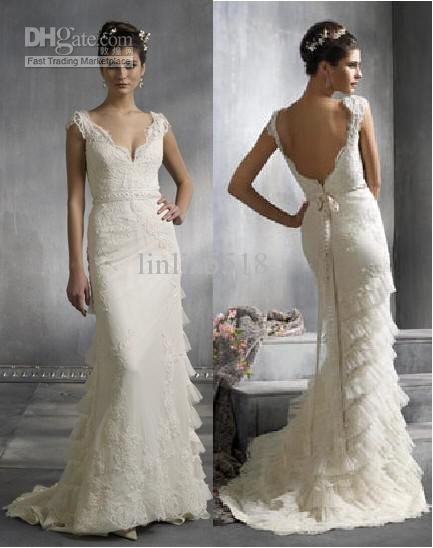 Wholesale High-quality Ivory Lace LAYERED Wedding Dress/Bridal Gown/Custom, $134.4-145.6/Piece | DHgate