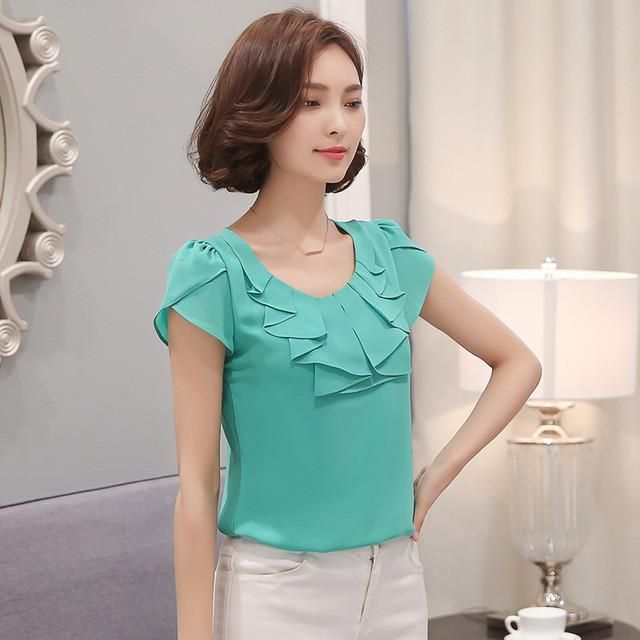 Women Blouse New 2017 Fashion Office Shirts Blouses Elegant Ladies Chiffon Blouse Short Sleeve Womens Tops Chemise Femme 861C 43