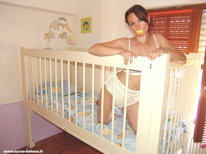 Adult Baby Girl In Nurse Helena S Crib Diaper Discipline