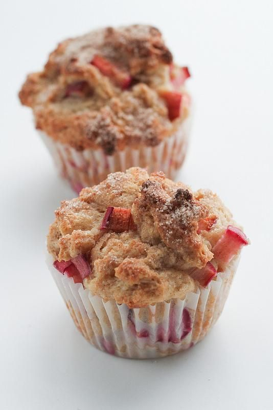 Cinnamon Rhubarb Muffins made with Greek Yogurt!
