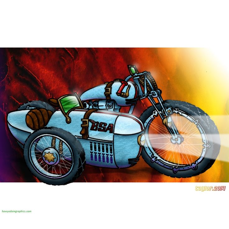 BSA with sidecar http://www.redbubble.com/people/howyadoin/calendars/13088352-bikes #motorcycle #motorcycleart