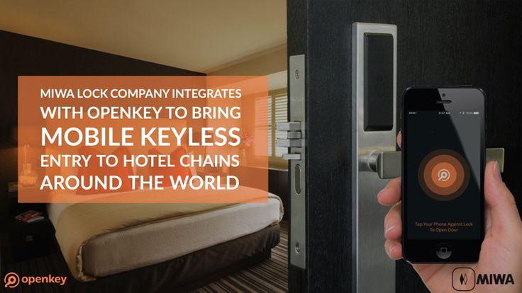 A hotel room door and Miwa and Openkey logos