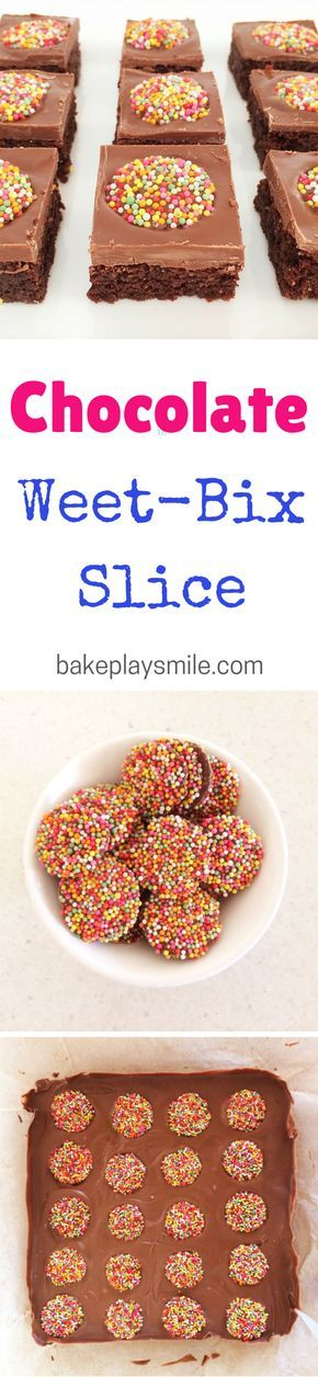 How cute are the freckles on top of this Weet-Bix slice! This is the best lunch box treat - and it's so easy too! I love Chocolate Weet-Bix Slice. #weetbix #slice #lunchbox