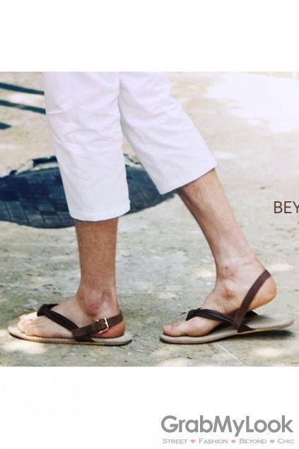 GrabMyLook MEN's Corner :: Sandals :: Flip Flop Mens Roman Gladiator Sandals Shoes