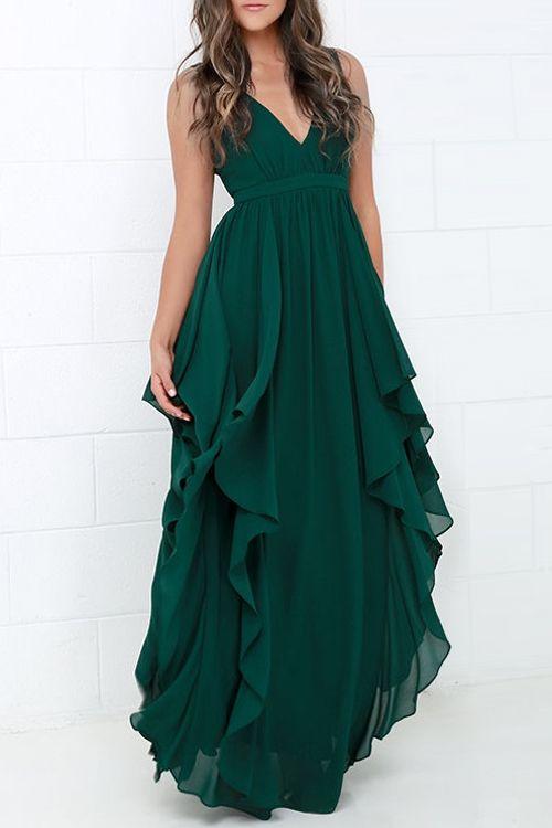 Ruffles V Neck Sleeveless Chiffon Maxi Dress