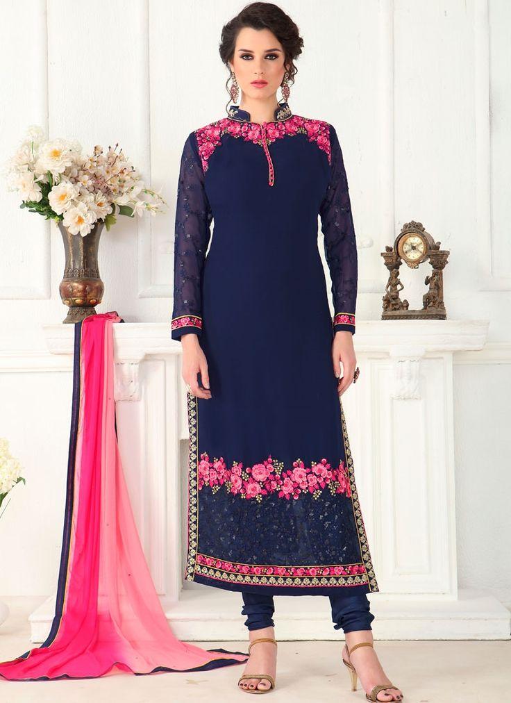 Indian salwar kameez shopping online. Shop now! This pleasing faux georgette churidar designer suit.