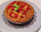 Polymer clay Blueberry Pie, cherry pie, miniature food, fake food, playhouse food, doll food, Anerican girl food, handmade