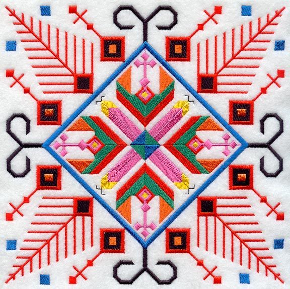 This design, inspired by folk embroidery, features vibrant colors and patterns replicating traditional motifs of Bulgaria.