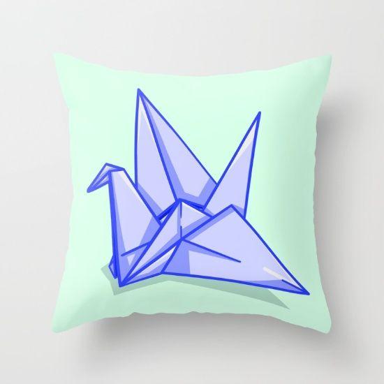 origami paper crane throw pillow
