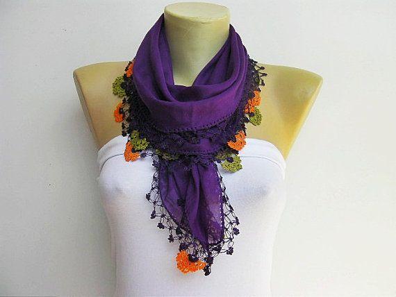 Turkish oya scarf hand crocheted  lace scarf/ ethnik / bandana