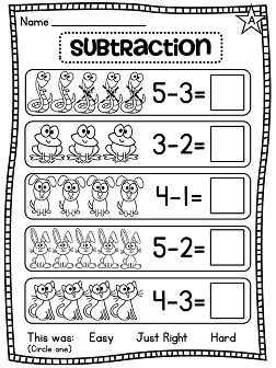 Subtraction differentiated worksheets and activities galore! Subtraction within 10 picture worksheets