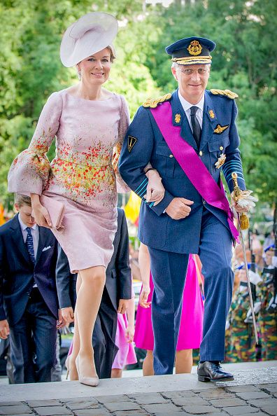 King Philippe of Belgium and Queen Mathilde of Belgium attend the Te Deum mass on the occasion of the Belgian National Day in the Cathedral on July 21, 2017 in Brussels, Belgium.
