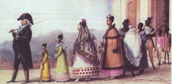 Funcionário público saindo de casa com a família, Debret, c. 1820.