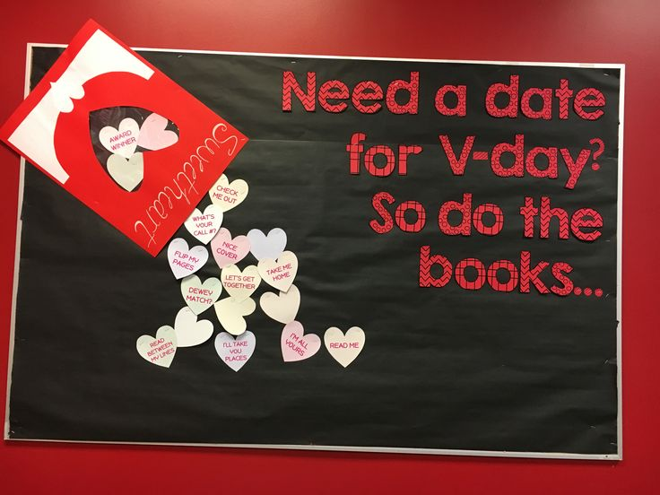 Valentines bulletin board for middle or high school library