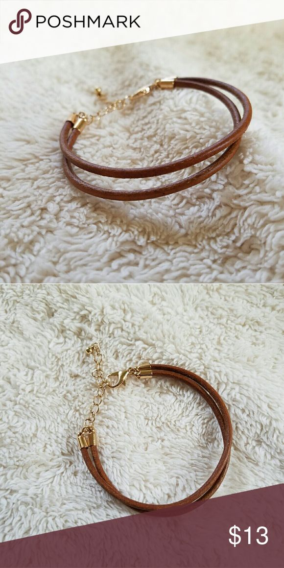 Simple Leather Cord Bracelet Simple Leather Cord Bracelet. Chain extension. NWOT Unused. Good condition. Jewelry Bracelets