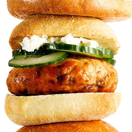 Feta and cucumber slices add Mediterranean flair to Greek Salmon Burgers. Serve these Salmon Burgers on toasted ciabatta rolls. (Cucumber and feta are light but flavorful ingredients that add a new dimension to salmon patties) | Health.com