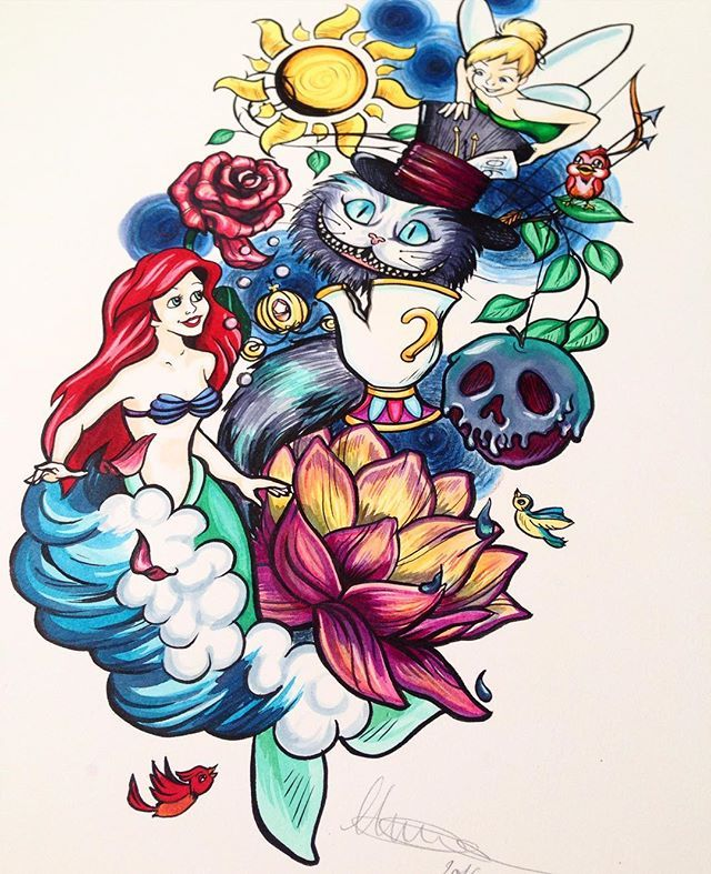 Neo Traditional Walt Disney themed tattoo. Little Mermaid, Peter Pan, Tangled, Alice in Wonderland, Snow White, Beauty and the Beast, Cinderella, Brave, Princes and the Frog.