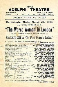 """Programm für die Dritte Adelphi Theatre """"The Worst Frau in London,"""" in den frühen 1900er Jahren."""