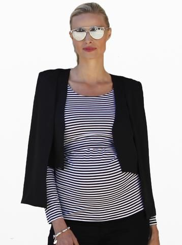 Accessories make all the difference to your style. This simple striped top would also look great with white pants, black shorts, with a denim jacket or with a scarf. Teamed with this black cape the outfit looks smart for work or an event. The sunglasses add a stylish accent detail.  Photo credit- angelmaternity.com.au