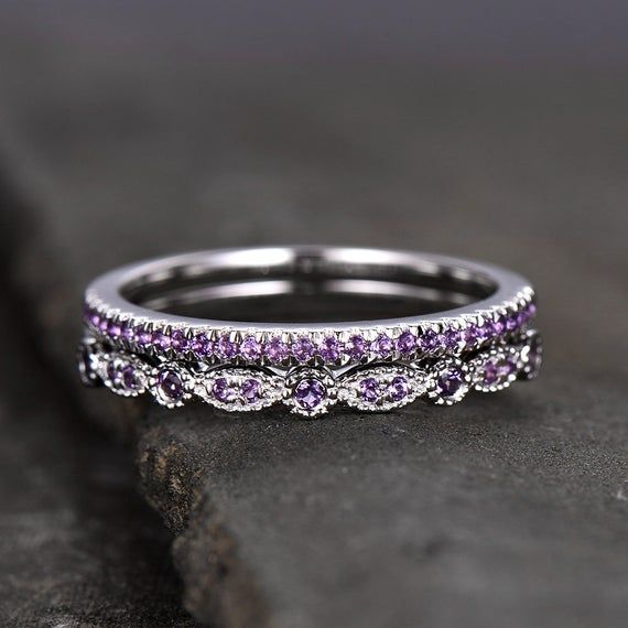 Unique Sterling Silver Ring Amethyst Wedding Ring Set Art Deco Etsy In 2020 Amethyst Wedding Rings Yellow Gold Diamond Engagement Ring Wedding Ring Bands