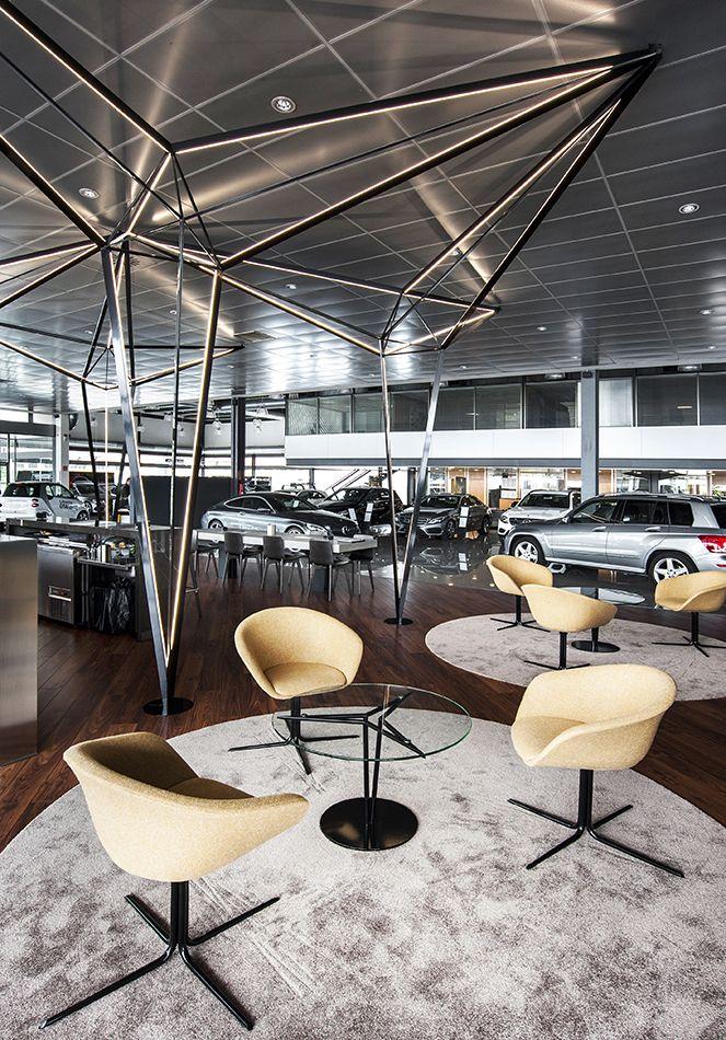 Automóviles Louzao_ Diseño de interiorismo y mobiliario para la cafetería de la marca Mercedes en Oleiros por mas·arquitectura #interiordesing #architecture #design #diseño #interiorismo #arquitectura #masarquitectura #furniture #furnituredesing #mobiliario #branding