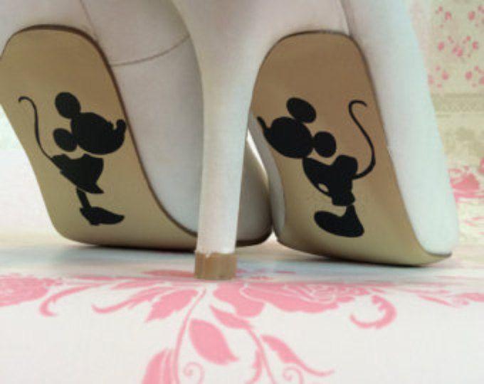 Mickey und Minnie Mouse Disney Hochzeit Tag Braut Schuh alleinige Vinyl Aufkleber Sticker Hochzeitsgeschenk glücklich je nach Zubehör etwas blau