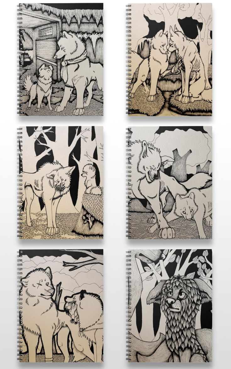 Black and white dog and wolf notebooks