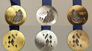 Sochi 2014 Winter Olympic Medals (front and back - Gold, Silver, and Bronze)