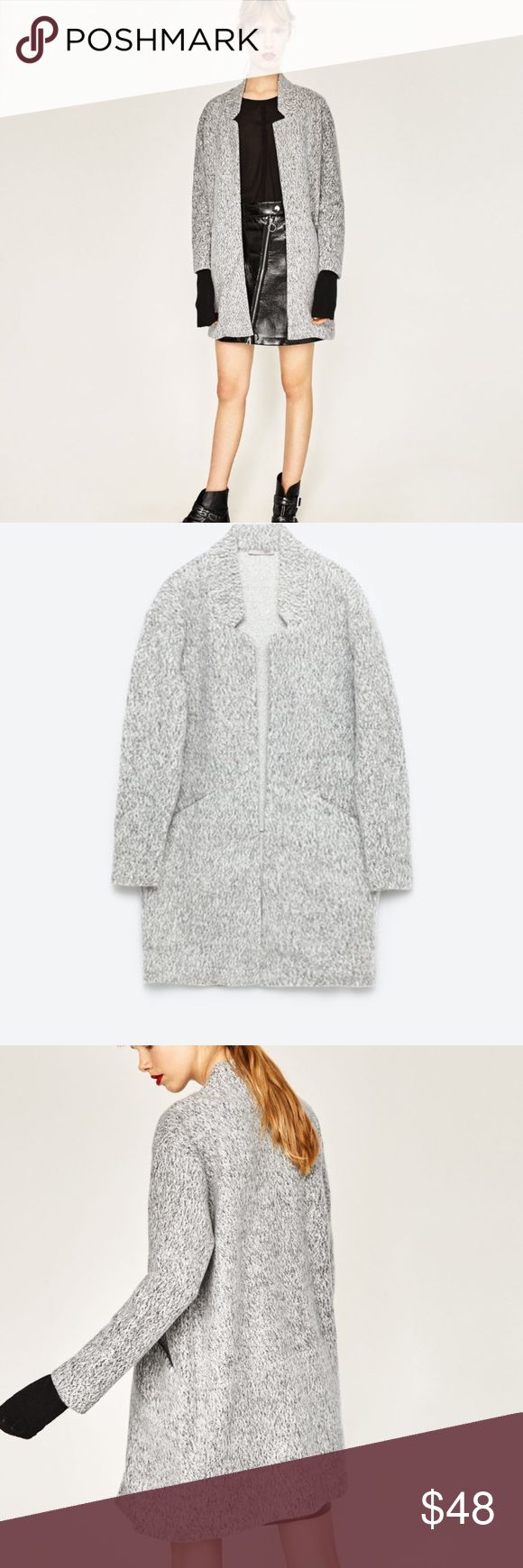 Zara Grey Coat {Price Firm} Brand new with tags. 62 % polyester 38% cotton. Side pockets. Perfect light material for a spring night time outfit or with layering during the cold months! Zara Jackets & Coats