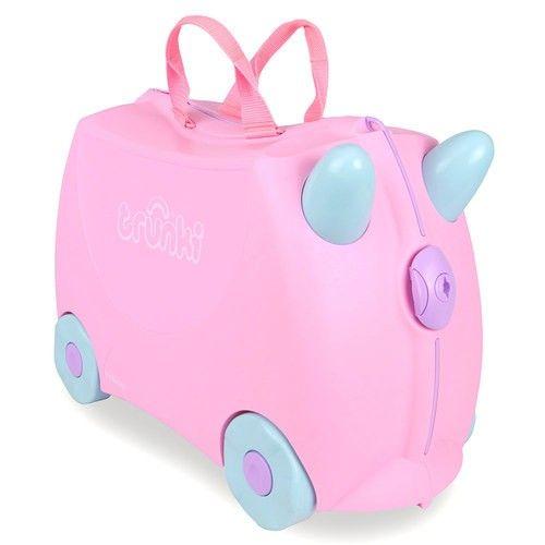Maleta Trunki Princesa Rosie Pink 52,95 €. La maleta de equipaje de mano: los niños pueden empacar todos sus juguetes y luego montarse sobre ella y ser remolcados mediante los tiradores que lleva incorporados.