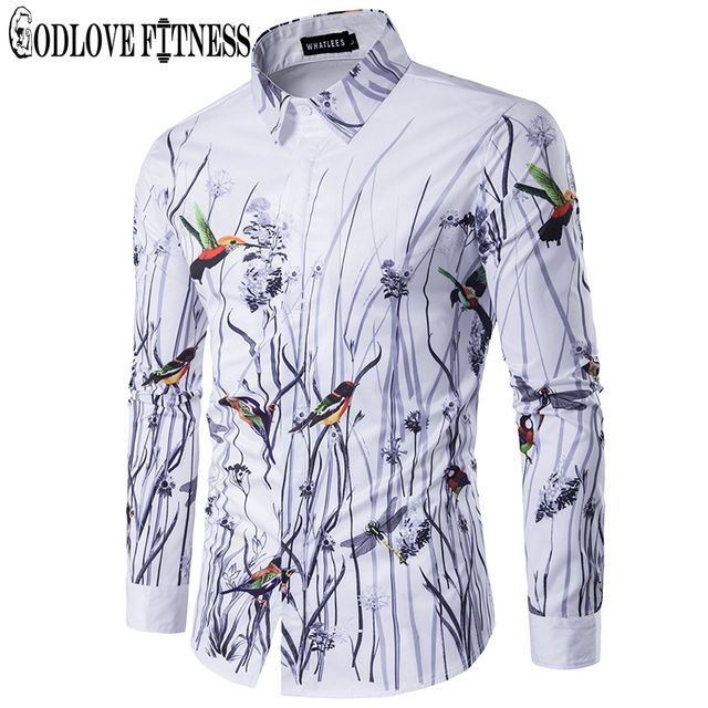 Good price Spring New Fashion Flowers Birds Print Men Shirt Brand Clothing Lapel Camisa Masculina Long Sleeve Mens Shirts Casual Camisas just only $12.97 - 14.83 with free shipping worldwide  #shirtsformen Plese click on picture to see our special price for you