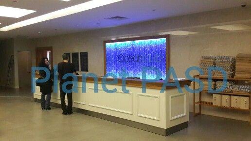 Sheraton Otel Istanbul baloncuk duvarı projesi.  Spa merkezi , reception , resepsiyon , water decor , su dekorları , bubble wall.
