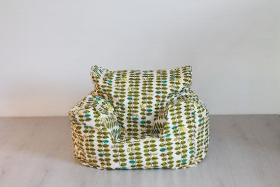 FILLED* Scandinavian green leaves print fabric for the style conscious mum and dad. Custom made nursery bean bag chair for baby or toddler