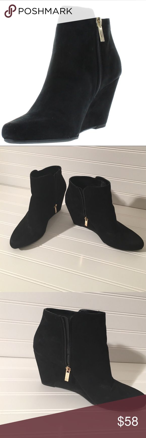 Jessica Simpson black suede wedge booties Jessica Simpson black suede wedge booties, excellent condition, only worn once. Jessica Simpson Shoes Heeled Boots