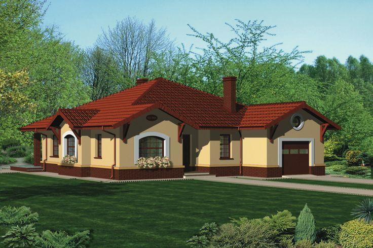 """Murator C109 """" Dom z naprzeciwka"""" parterowy dom o ładnej, proporcjonalnej bryle i ciekawej, urozmaiconej elewacji. Idealny dla czteroosobowej rodziny ceniącej wygodę i przestrzeń."""