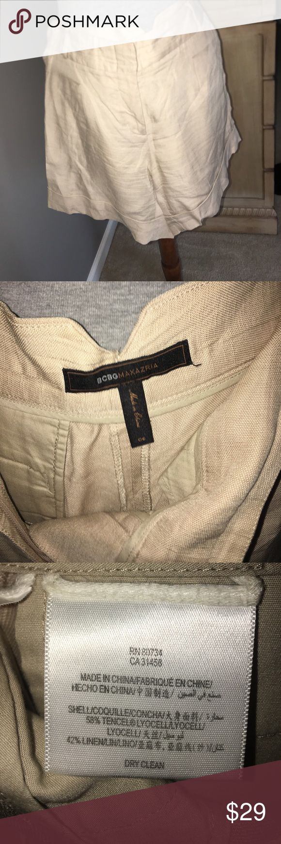 BCBG Linen beige shorts with cuffs. BCBG Linen beige shorts with cuffs, side pockets, one pocket in back, zip front with belt loops, one pleat on each side. BCBGMaxAzria Shorts