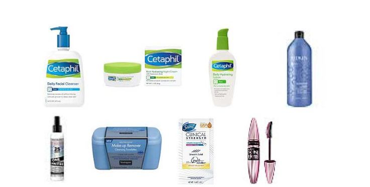 1)	Cetaphil Daily Facial Cleanser (Target, Ulta, CVS) 2)	Cetaphil Rich Moisturizing Night Cream Face Cream (Target, Ulta, CVS) 3)	Cetaphil Daily Hydrating Lotion (Target, Ulta, CVS) 4)	Redken Extreme Shampoo (33.8 oz) – (Ulta.com) 5)	Redken One United, 25 Benefits (5.0 oz) – (Ulta.com)  6)	Neutrogena Make-up Remover Cleaning Towelettes 7)	Secret Clinical Strength or Dove Clinical Strength Deodorant 8)	Maybelline Last Sensational Mascara – Blackest Black – NOT waterproof