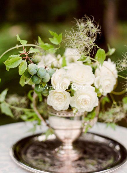 in antique silver: Antiques Silver, Ideas Wedding, Green Arrangements, White Flowers, Ariella Chezar, White Rose, Silver Trays, Wedding Ideas, Vintage Silver