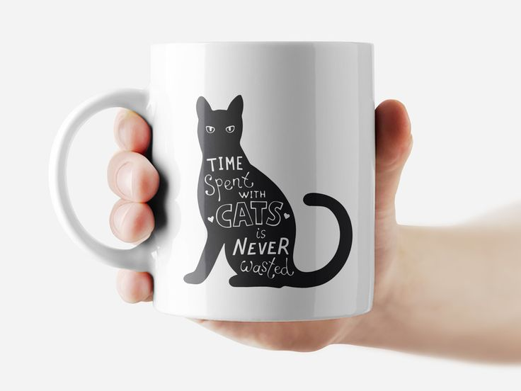 Time spent with cats are never wasted Mug Funny Rude Quote Coffee Mug Cup Q299 #Handmade