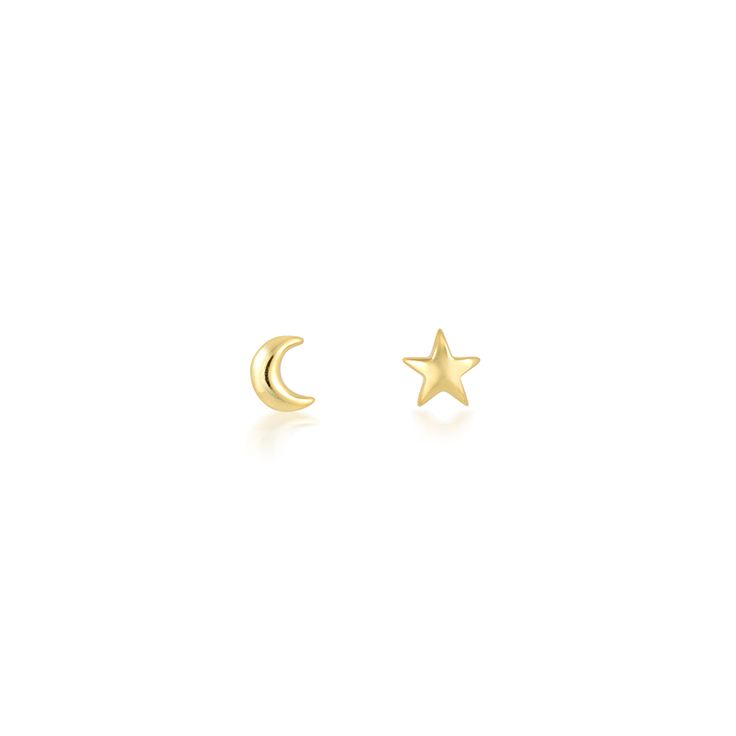 Crescent moon and star tiny gold ear studs in a petite micro size - Subtle and minimal, perfect for stacking - CLICK TO SHOP CELESTIAL STAR MOON EAR STUDS NOW