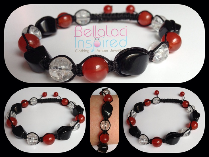 Red Agate, Clear Crackle Quartz & Black Onyx Twists.  www.bellalaciinspired.com.au