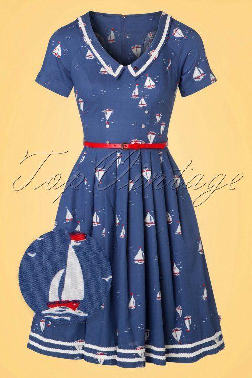 Blutsgeschwister Muggelsee Marine Boat Sailor Navy blue Dress jurk vintage look donker blayw boten print
