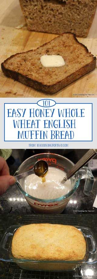 The best toast ever. This super easy whole wheat English muffin bread has lots of nooks and crannies. Slathered with butter and jam you're in breakfast heaven.