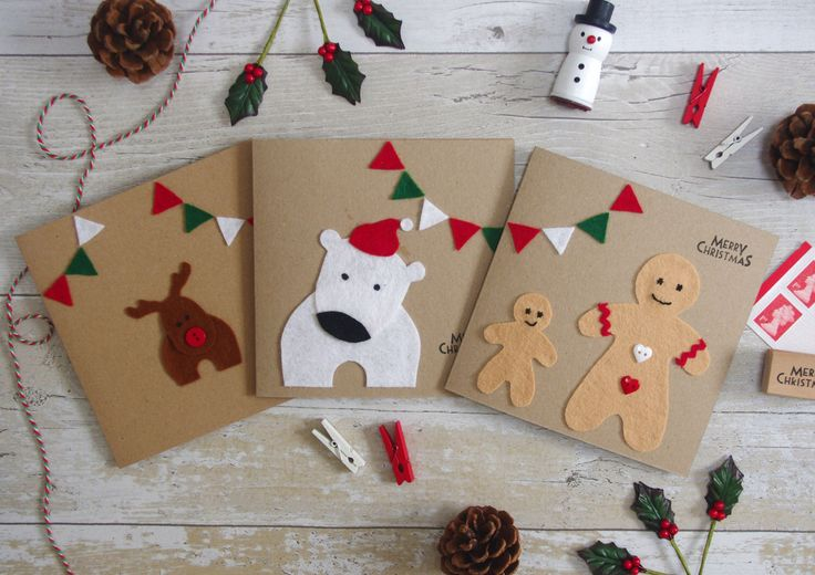 Handmade and cute; these cards are the epitome of Christmas for me! And you can personalise too ☺️   #christmas #felt #kidschristmas #cutechristmas #polarbear #reindeer #gingerbreadman
