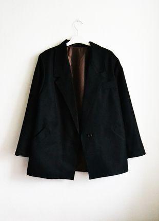 marynarka żakiet blazer boyfriend oversize czarna luźna retro vintage mom na jeden guzik