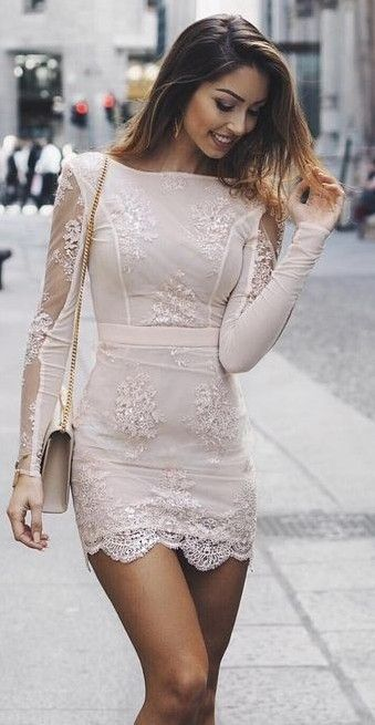 Beautiful nude dress with lace and a little bag - LadyStyle
