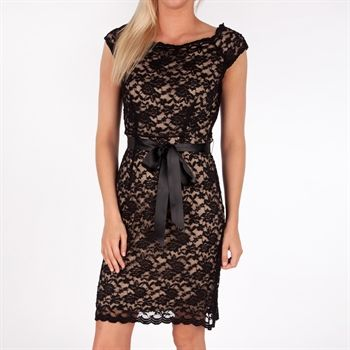 Connected Apparel Belted Lace Boat Neck Dress with Scalloped Edges - Von Maur