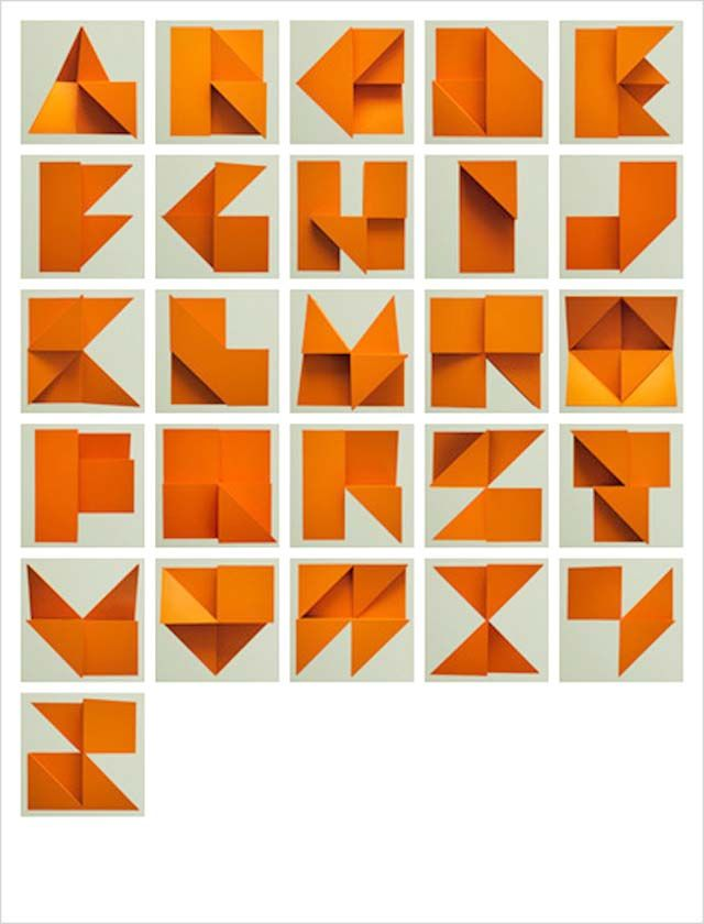 Origami Alphabet Relief by Tim Fishlock: Origami Alphabet, Inspiration, Graphics Design, Typography, Fonts, Letters, Paper Crafts, Alphabet Relief, Tim Fishlock